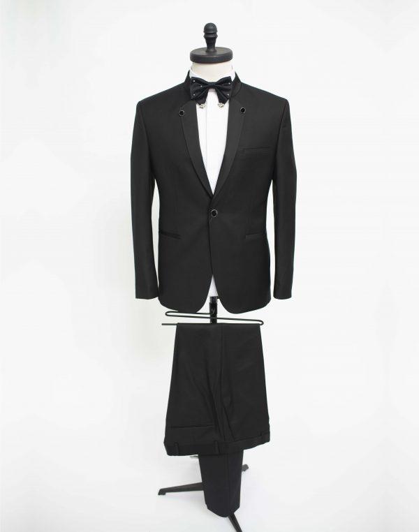 Costum Barbatesc Slim Fit Negru Tunica de Ginere  Lei
