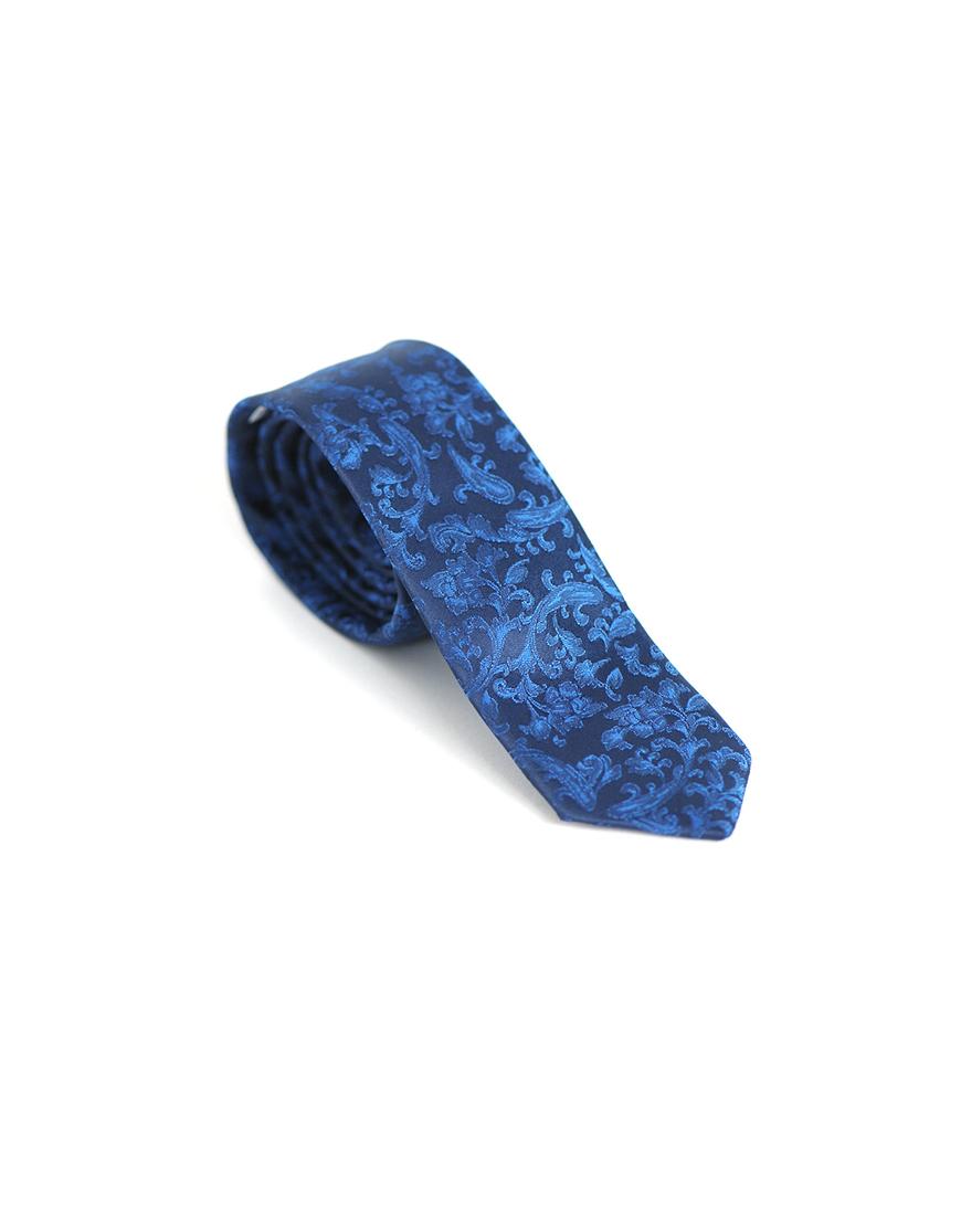 Cravata Barbati Albastra Cu Flori Microfibra Eleganta Casual Slim 80 Lei