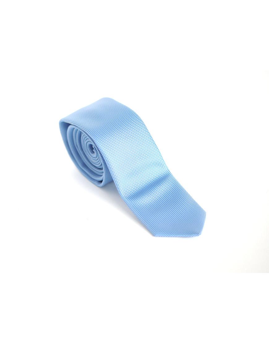Cravata Barbati Azuriu Texturat Microfibra Eleganta Casual Slim 80 Lei