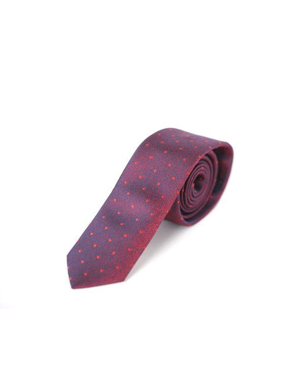 Cravata Barbati Bordo Cu Buline Microfibra Eleganta Casual Slim 80 Lei