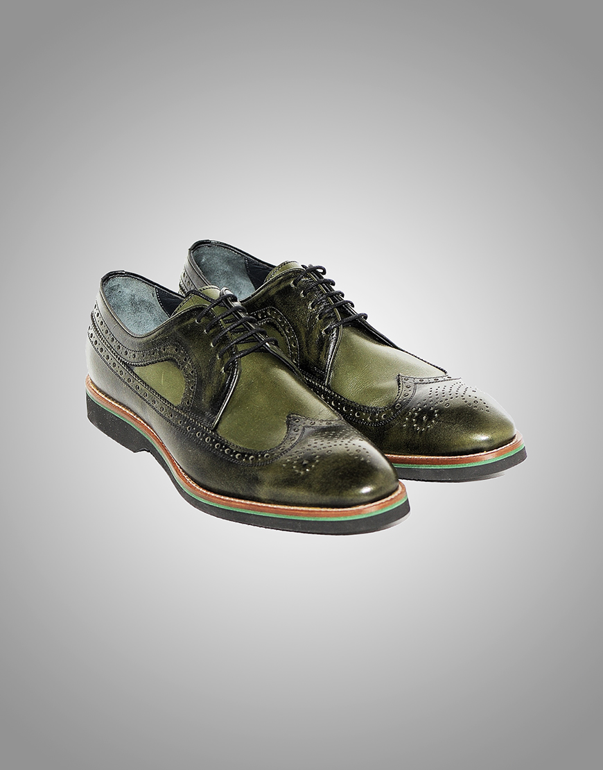 Pantofi Barbatesti Derby Verzi Piele  Lei