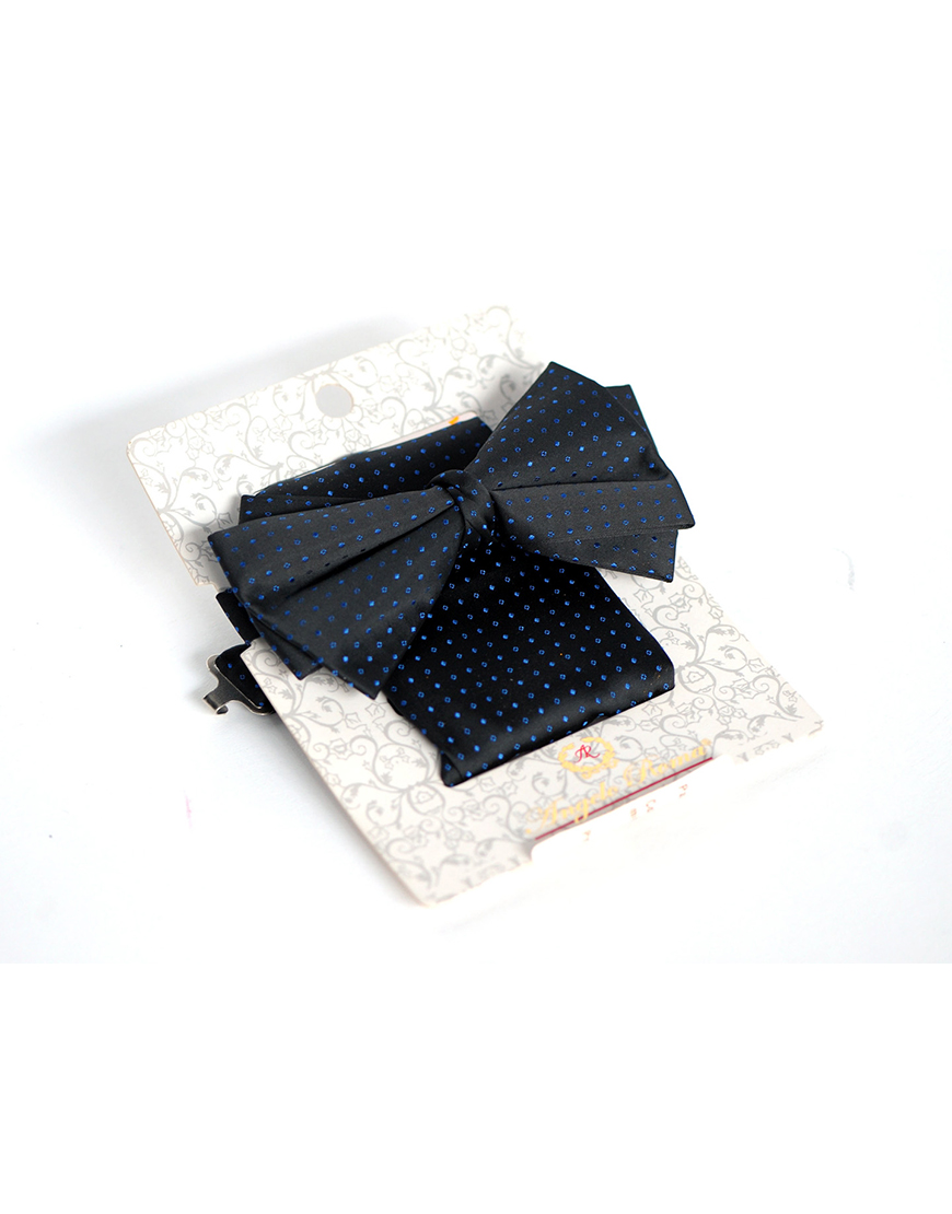 Papion Barbati Negru Mire Microfibra Elegant Cu Buline Albastre 90 Lei