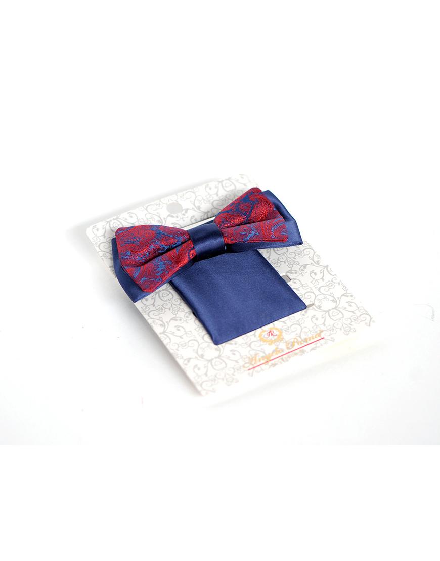 Papion Barbati Bleu Ginere Microfibra Elegant Cu Imprimeu Bordo 90 Lei