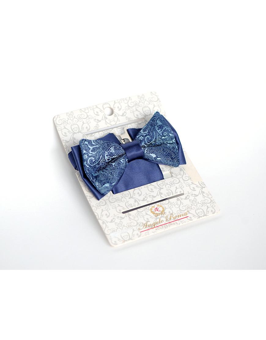 Papion Barbati Bleu Ginere Microfibra Elegant Cu Imprimeu 90 Lei