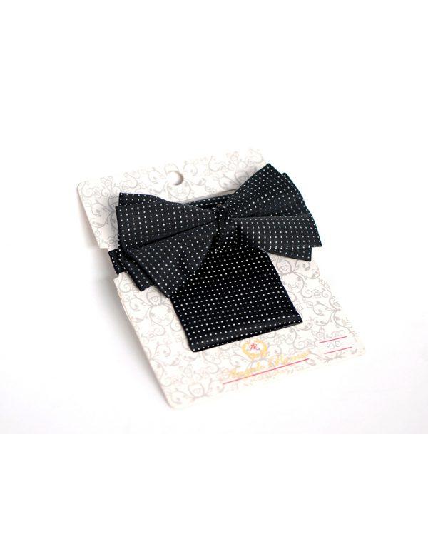 Papion Barbati Negru Mire Microfibra Elegant Cu Buline Albe 90 Lei