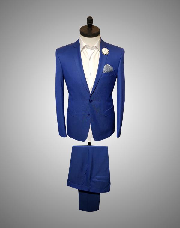 Costum Barabti SlimFit Bleumarin Texturat  Lei