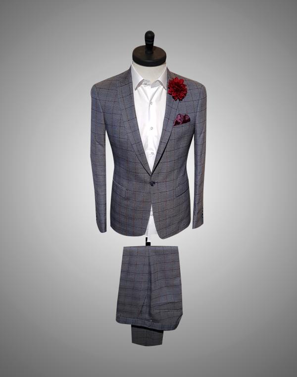 Costum Barabti SlimFit Bleumarin Texturat 1200 Lei