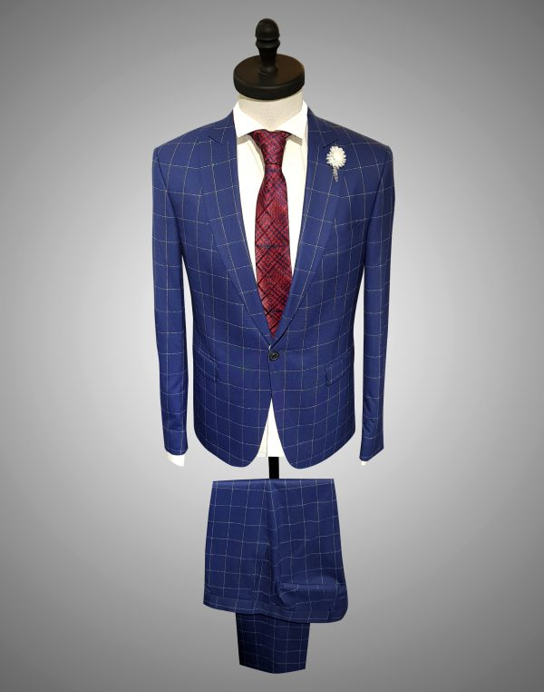 Costum Barbatesc Slim Fit Bleumarin in Carouri 1200 Lei