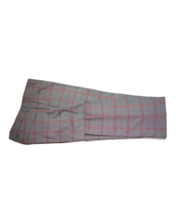 Costum Barbati SlimFit Gri in Carourii Rosii Lana 1500 Lei