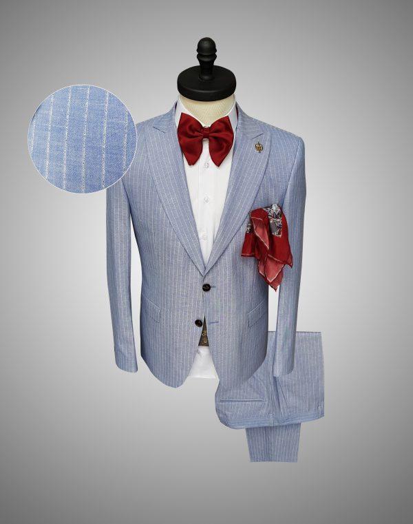Costum Barbati Slim Fit Bej Lana 1700 Lei