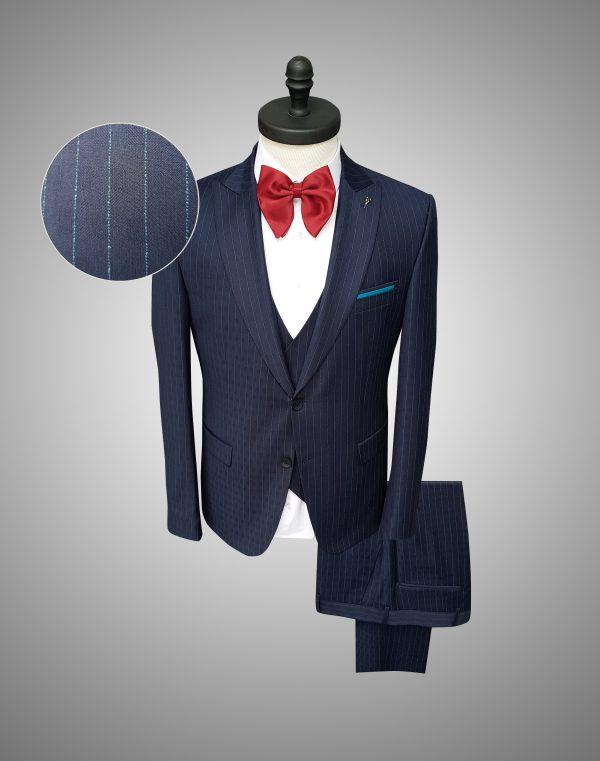 Costum Barbatesc Slim Fit Albastru in Dungi Lana  Lei