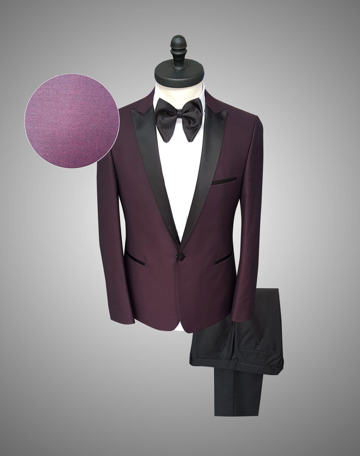 Costum Barbati Slim Fit Visiniu Lana 1200 Lei