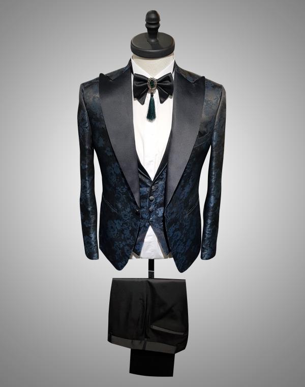 Costum Barbati Slim Fit Albastru Imprimeu 2100 Lei