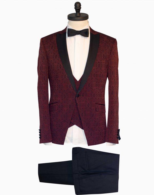 Costum Barbati Slim Fit Visiniu cu Imprimeu Lana 1500 Lei