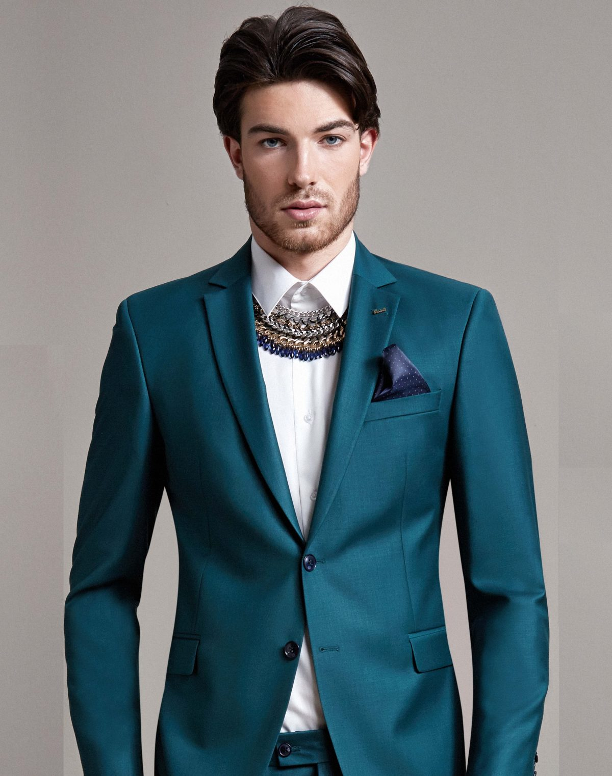 Costum Barbatesc Slim Fit Verde Lana 950 Lei
