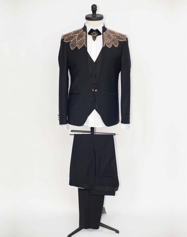 Costum Barbati Slim Fit Negru cu insertii Aurii  Lei